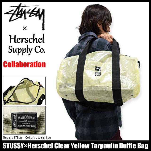 ステューシー STUSSY ダッフルバッグ Herschel Clear Yellow Tarpaulin コラボ(STUSSY×Herschel duffle bag バッグ ショルダーバッグ ハーシェル Wネーム メンズ レディース ユニセックス 男女兼用 134125 USAモデル 正規 品 ストゥーシー スチューシー 小物)