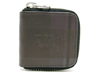 STUSSY(suteyushi)Black Plaid Coin Case ice filed icefield