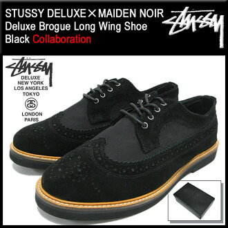 Stussy STUSSY×MAIDEN NOIR Deluxe blog long wing shoes black leather Deluxe collaboration with men (STUSSY×MAIDEN NOIR maiden Noir Deluxe Brogue Long Wing Shoe Black DELUXE W name 4038053) ice filed icefield