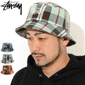 ステューシー STUSSY バケット ハット Big Logo Madras Bucket Hat 帽子 ( stussyhat メンズ・男性用 132978 USAモデル 正規 品 ストゥーシー スチューシー ) ice field icefield