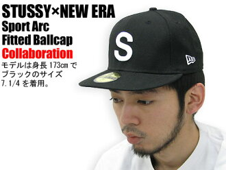 suteyushi STUSSY×NEW ERA Sport Arc Fitted盖子协作(供stussy cap帽子新埃拉W姓名人、男性使用的031719朱熹)ice filed icefield
