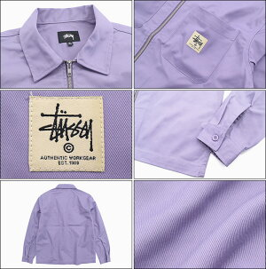 ステューシーSTUSSYシャツ長袖メンズ19FAZipUpWork(stussyshirtジップアップワークシャツカジュアルシャツトップスメンズ・男性用1110065USAモデル正規品ストゥーシースチューシー)icefiledicefield