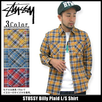 suteyushi STUSSY Billy Plaid衬衫长袖子(供stussy shirt衬衫人、男性使用的111665 Stussy stussy二海洋朱熹)ice filed icefield