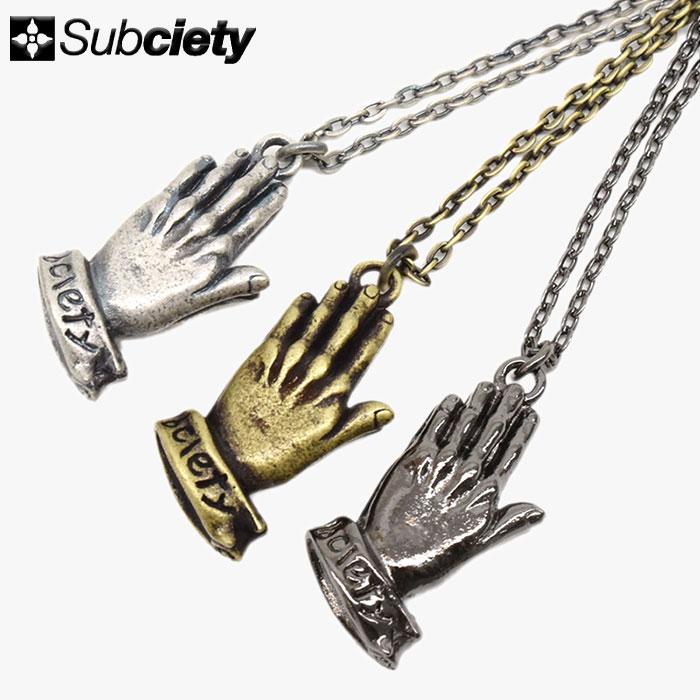 サブサエティ Subciety ネックレス メンズ プレイング ハンズ メタル(subciety サブサエティー Praying Hands Metal Necklace アクセサリー 103-94068)