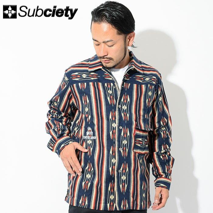サブサエティ Subciety シャツ 長袖 メンズ ネイティブ(subciety サブサエティー Native L/S Shirt カジュアルシャツ トップス 107-20319)