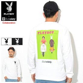 サブサエティ Subciety Tシャツ 長袖 メンズ プレイボーイ カバー コラボ ( Subciety×PLAYBOY Cover L/S Tee ティーシャツ T-SHIRTS トップス ロング ロンティー ロンt 105-44153 )