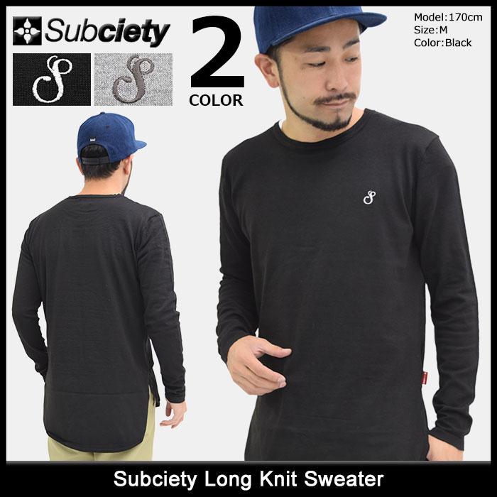 サブサエティ Subciety セーター メンズ ロング ニット(subciety サブサエティー Long Knit Sweater クルーネック トップス 103-50106)