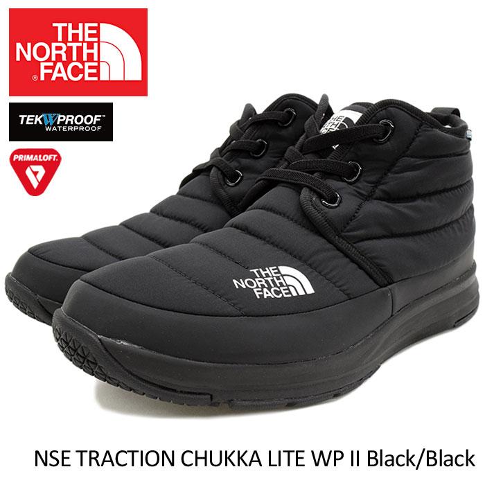ザ ノースフェイス THE NORTH FACE ブーツ メンズ 男性用 ヌプシ トラクション チャッカ ライト WP 2 Black/Black(NSE TRACTION CHUKKA LITE WP II 撥水 防水 防寒 レインシューズ ウィンターブーツ 靴 シューズ NF51793-KK ザ・ノース・フェイス)