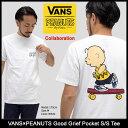 バンズ VANS Tシャツ 半袖 メンズ ピーナッツ グッド グリーフ ポケット コラボ(vans×PEANUTS Good Grief Pocket S/S Tee Wネーム テ…