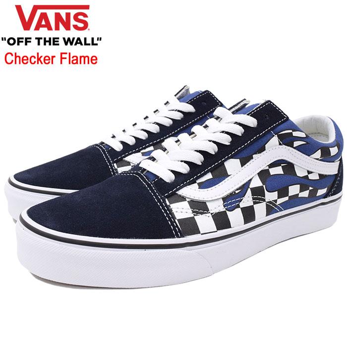 バンズ VANS スニーカー メンズ 男性用 UA オールドスクール Navy/True White チェッカー フレイム(vans VN-0A38G1RX6 UA Old Skool Checker Flame ローカット ネイビー 紺 SNEAKER MENS・靴 シューズ SHOES ヴァンズ)