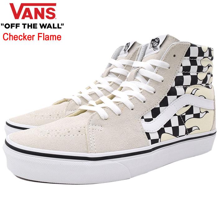 バンズ VANS スニーカー メンズ 男性用 UA スケートハイ Classic White/True White チェッカー フレイム(vans VN-0A38GERX7 UA Sk8-Hi Checker Flame ハイカット ホワイト 白 SNEAKER MENS・靴 シューズ SHOES ヴァンズ)