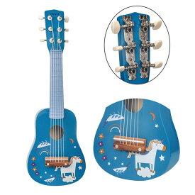 ギター 子供用 DEWEL 楽器玩具 6弦ギター ミニギター 21インチ 持ち運び 知育玩具 おもちゃ かわいい 写真用 撮影用 運指練習 誕生日プレゼント(七五三や入園卒園進学など)ピック・予備弦付き
