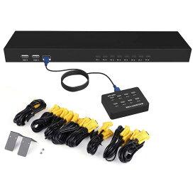ES-Tune KVM切替器 PC8台用 8入力1出力 VGA切替器 専用ケーブル8本付き サーバー管理 Mac OS非対応 最大解像度1920*1440 有線手元コンソール