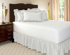 ベッドスカート シングル DEWEL ホワイト ラップアラウンドスタイル 簡単フィット 伸縮性フリル付