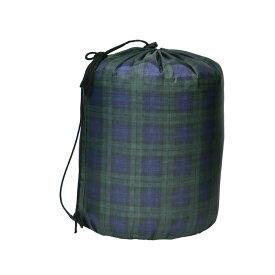 洗える寝袋 コンパクト収納 チェックグリーン 58607【同梱・代引き不可】