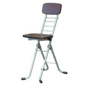 ルネセイコウ リリィチェアM(折りたたみ椅子) ダークブラウン/シルバー 日本製 完成品 CSM-320TAD【同梱・代引き不可】