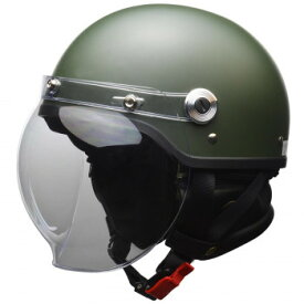CROSS バブルシールド付き ハーフヘルメット LLサイズ(61-62cm未満) マットグリーン CR-761【同梱・代引き不可】
