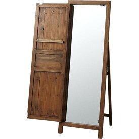 スタンドミラー(ドアミラー) ソーレ 全身姿見鏡 高さ134cm 木製 TSM-13BR ブラウン同梱・代金引換不可