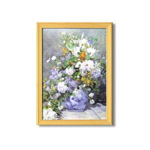 名画額縁/桧フレームセット 【A3】 ルノワール 「花瓶の花」 343×466×230mm 壁掛けひも付き 【同梱・代金引換不可】