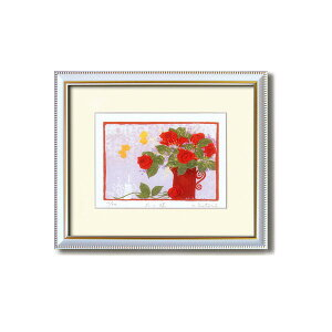 『花』風水額/シルク版画 【吉岡浩太郎 赤い花】 吊りひも付き 日本製 【同梱・代金引換不可】