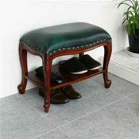 アンティーク風 棚付きベンチスツール ブラウン ベンチ スツール 玄関椅子 腰掛 天然木同梱・代金引換不可