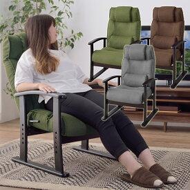 楽々チェア 天然木 椅子 いす イス レバー式 リクライニング 高さ4段階調節 RKC-38GY 【同梱不可】