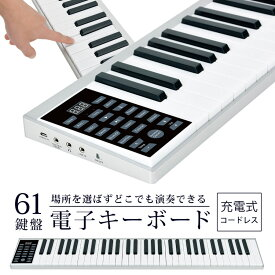 ★4/5開始!クーポンで350円off★ 電子キーボード 61鍵盤 コードレス 充電式 日本語表記 軽量 楽器 録音 デモ曲 ポータブル 子供 大人 初心者 61鍵盤電子キーボード 電子ピアノ PlayTouch easy Sunruck SR-DP05