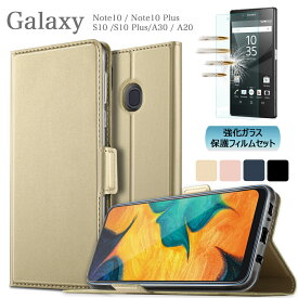【強化ガラス付】Galaxy Note10 Note10Plus Galaxy S10 Glaxy S10 Plus Glaxy A30 A20 専用スマホケース ギャラクシー s10 プラス S10+ a30 カバー ケース SCV45 SC-01M SCV41 SC-03L カード収納有 手帳型 インナーカバー サイド マグネット内蔵 SIMフリー 在宅 テレワーク