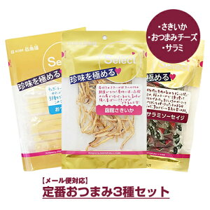 【メール便】伍魚福 セレクト)定番おつまみ3種セット 函館さきいか サラミ おつまみチーズ