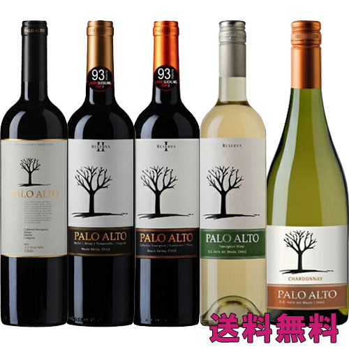 ワインセット 飲み比べ チリワイン パロ アルト 赤白5本セット 送料無料 超お買得セット 750Ml×5本
