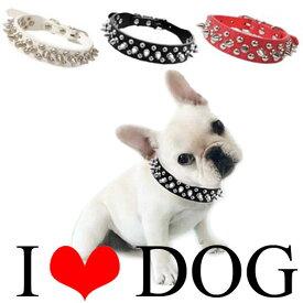 犬の首輪 幅2.5cm スタッズ・スパイクPUレザー首輪【送料無料】 首回り16cm〜48cm対応(海外輸入品)ハードロック|小型犬〜中型犬用|楽天スーパーSALE