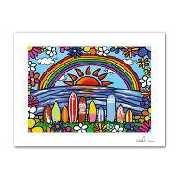 絵画 アート A4 インテリア マットフレーム サーフボード ハワイアン カリフォルニア おしゃれ アロハ ハワイ サーフ 海 ビーチ プルメリア hawaii aloha California surf beach