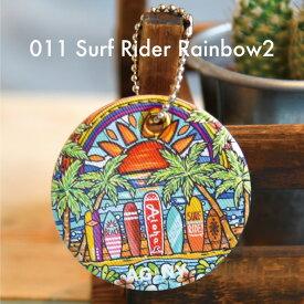 キーホルダー キーチェーン 合皮 ハワイアン カリフォルニア おしゃれ アロハ ハワイ サーフ 海 ビーチ プルメリア hawaii aloha California surf beach【Surf Rider Rainbow2】
