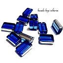 フラットレクタングル☆ガラスビーズ ロイヤルブルー 15×10mm 金属メッキ 10個セット