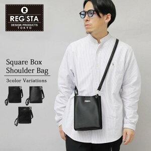 REGiSTA 650 ショルダーバッグ スクエア型バッグ ミニショルダー メンズ バッグ エコレザー スクエア レジスタ スムース エンボス クロコ ユニセックス レディース ブラック 黒