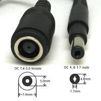 HPACアダプタープラグサイズ変換ケーブル外径7.4mm内径5.0mm→外径4.8mm-内径1.7mmDCプラグサイズ変換ケーブル15cm4.8mm-7.4mmDC電源ドングル【IC-HP4817S】【ポスト投函便】