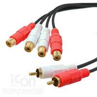 RCAオーディオ2分配ケーブルRCAプラグ(赤白オス)-RCAジャック(赤白メス-メス)x2【COMON】OD-Y音声オーディオスプリッター【RCP】メール便対応