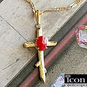 "K18YG 血赤珊瑚 天然色6mm 小枝クロス ペンダント ""Twiggy Cross"""