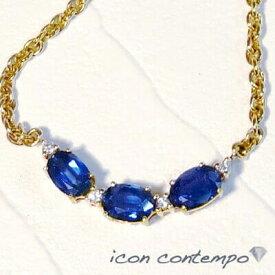 K18大粒ブルーサファイア計4.2ct ダイヤモンド 太チェーンネックレス サイドサテン ウェイブ Wave