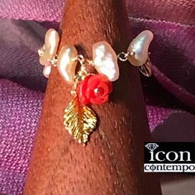 """K18YGバラ彫刻赤珊瑚天然色 あこや真珠ゴールデンケシパール アジャスターチェーンリング アコヤ リーフ&フラワー """"Red Rose"""""""