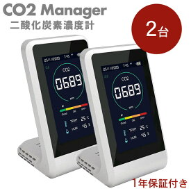 CO2マネージャー 測定器【2台セット】[TOA-CO2MG-001]換気のタイミングが一目で分かる。日本全国送料&代引手数料無料※予約商品※CO2センサー CO2測定器 CO2モニター