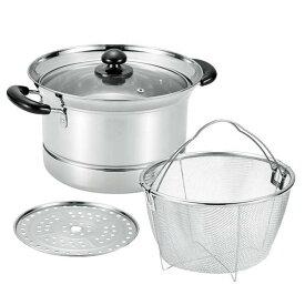まいにち使いの多用途お鍋 深型両手鍋 22cm (ザル付) パスタ鍋 そうめん鍋 万能鍋