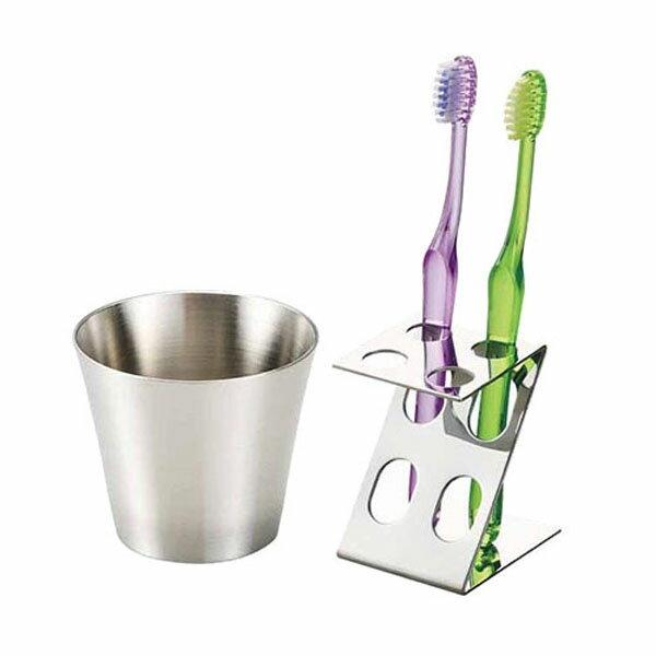 スリム歯磨きセット MR-664 ステンレスコップ ステンレス歯ブラシスタンド