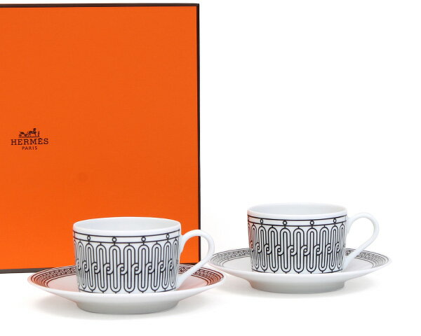エルメス(HERMES) H Deco アッシュデコ ティーカップ&ソーサー ペア 【ティー】【あす楽対応】