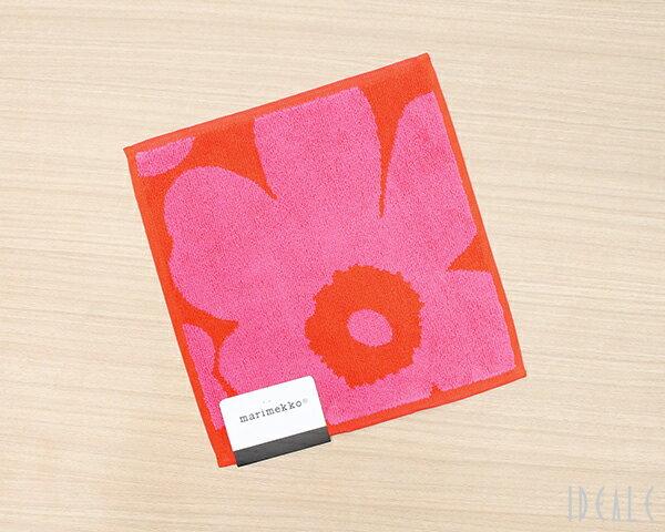 マリメッコ ウニッコ ミニタオル 25×25cm ピンク/レッド marimekko UNIKKO [ネコポス対応可(2枚まで)]