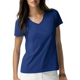 出血!5の付く日クーポン発行中 ヘインズ レディース ライトウエイト ショートスリーブ Vネック Tシャツ ディープローヤル Hanes Women's Lightweight Short Sleeve V-neck T-Shirt Deep Royal