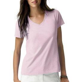 ヘインズ レディース ライトウエイト ショートスリーブ Vネック Tシャツ ピンク Hanes Women's Lightweight Short Sleeve V-neck T-Shirt Pink