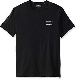 出血!5の付く日クーポン発行中 AVIREX アヴィレックス Tシャツ半袖 メンズ ワッペン パッチ クルーネック ジェットブラック 人気のおしゃれなTシャツ メンズ