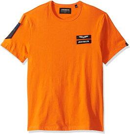 出血!5の付く日クーポン発行中 AVIREX アヴィレックス Tシャツ 半袖 メンズ ワッペン パッチ クルーネック ジェット オレンジ 人気のおしゃれなTシャツ メンズ