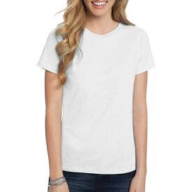 Tシャツ ホワイト ヘインズ レディース 中厚 ショートスリーブ Hanes Women's Comfort Soft Short Sleeve Tee Sサイズ